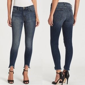 FRAME Le High High-Rise Skinny Raw Hem Jeans 25